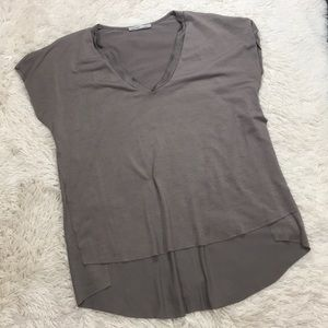 Zara W/B Collection Brown high low open sides top